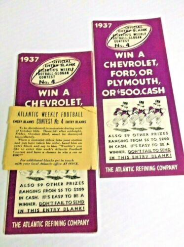 Vintage 1937 Atlantic Refining Football Contest Forms Pack of 7 Gas Station
