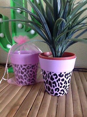 1 Lilac Light Purple Leopard Print Retro Rockabilly Plant Pot