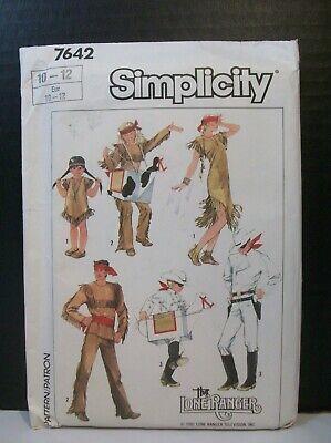 Simplicity Pattern 7642 Costumes Sz 10-12 Lone Ranger Tonto Silver Scout Cowboy