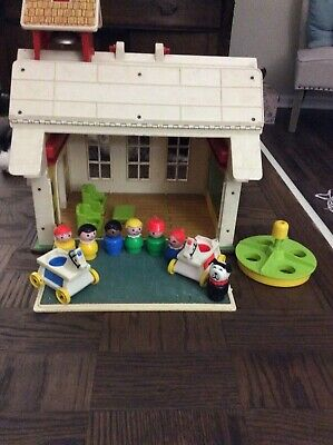 1970's Vintage Fisher Price Little People School House with Bell and Clock
