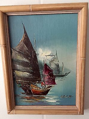 Small Mid Century Modern Oil Painting Colorful Boats At Dawn