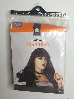 Adult Wig Costume Dark Diva Black Halloween Dress Up Witch Fairy Vampire Zombie Adult Witch Diva Costume