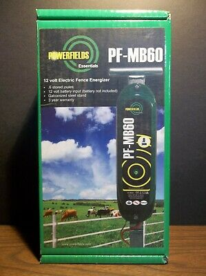 Powerfields Essentials Pf-mb60 12 Volt Fence Charger. N.i.b. .6 Joules. 30 Acres