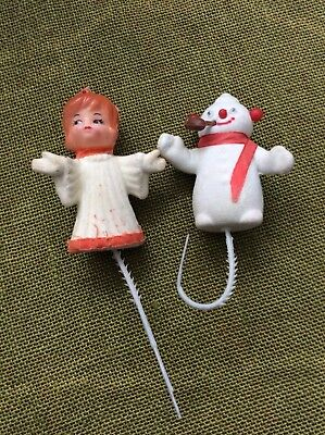 Vintage Snowman and Angel - Christmas Decoration -  Felt over Plastic
