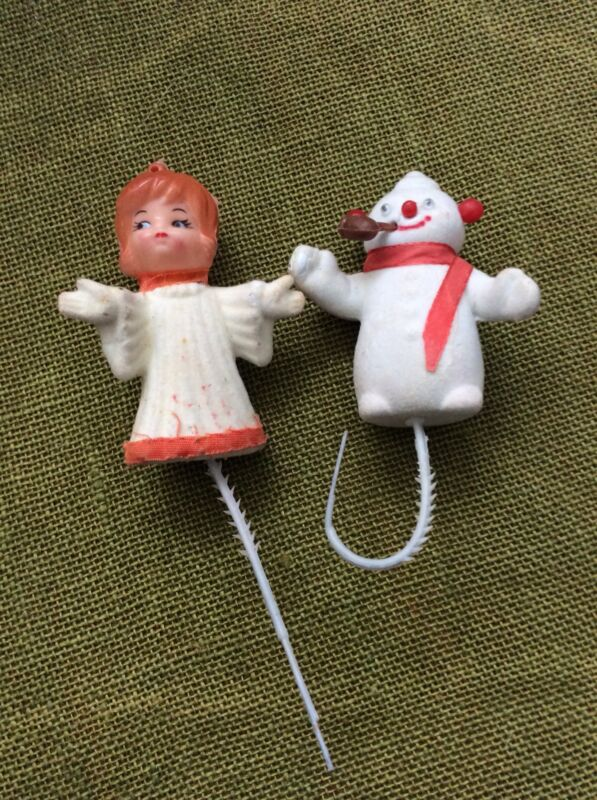 Vintage Snowman and Angel - Christmas Decoration -  Felt over Plastic