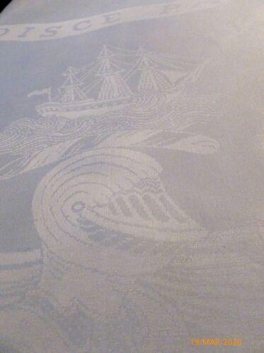 "198"" x 88"" Antique IRISH LINEN Double Damask TABLECLOTH Ship COAT ARMS Florals"