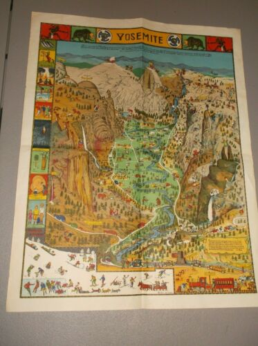 VINTAGE JO MORA Cartoon Map Poster YOSEMITE National Park 1931