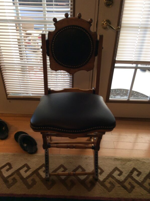 1860s Victorian Rare Joshua Briggs Eureka Piano Chair Adjustable Stool wood
