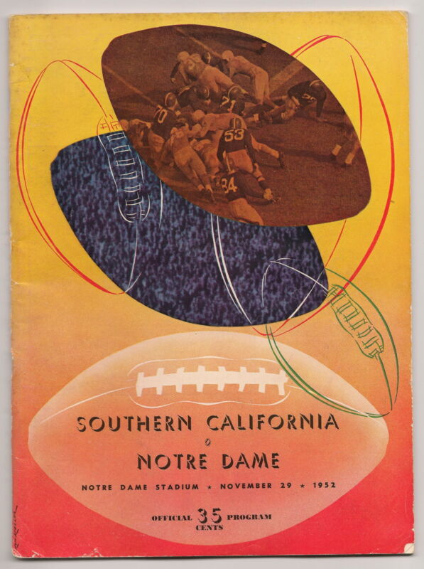 1952 Notre Dame-USC Southern California Program Irish Hand Trojans Only Loss!!