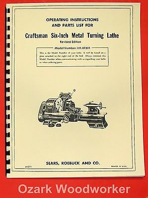 "CRAFTSMAN/ATLAS 6"" Metal Lathe 101.07301 Owner's Manual ~REVISED 0189"