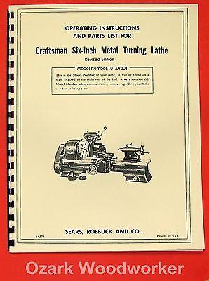 Craftsmanatlas 6 Metal Lathe 101.07301 Owners Manual Revised 0189