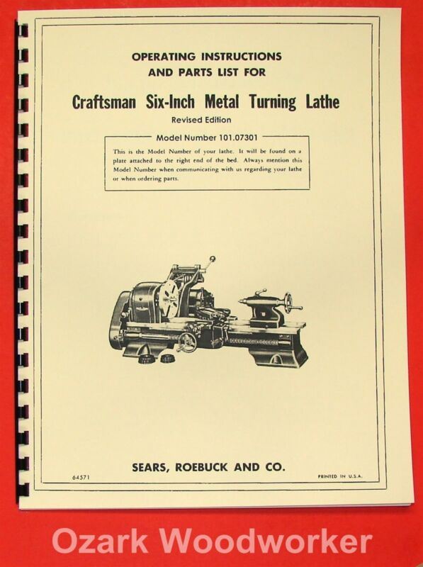 "CRAFTSMAN/ATLAS 6"" Metal Lathe 101.07301 Owner"