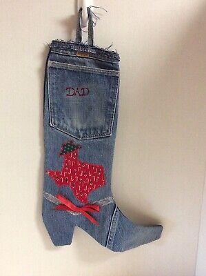 "Unique Rustler Jeans Denim Boot CHRISTMAS STOCKING Texas Applique ""DAD"""