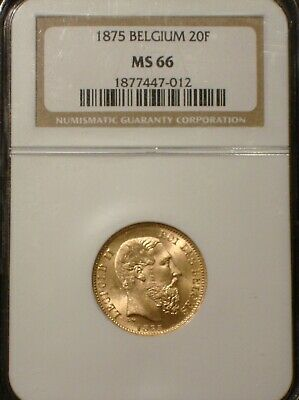 BELGIUM 1875 20 Francs Gold * NGC MS66 * Highest ever graded by NGC!