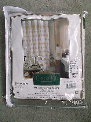 (NEW Croscill Tailored Fabric Shower Curtain Peach Sea Shells 72Wx75L