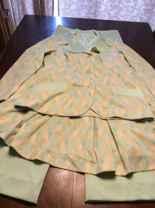 Polyester Green And Yellow Argyle Print Vintage 3 Piece Interchangeable Outfit