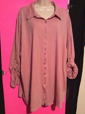 Woman Within Plus Size 3X Fits 4X 5X Purple Knit Top 3 4 Sleeve Button Up Shirt