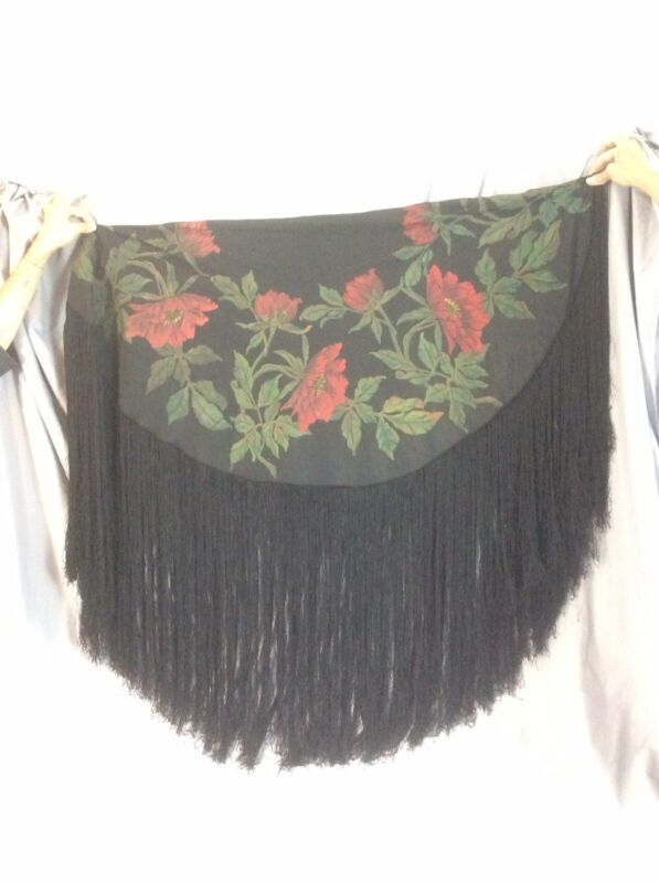 Victorian Antique Silk Hand Painted Piano Scarf/Shawl Fringed Round Black Floral