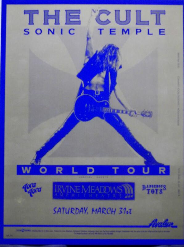 The Cult Original Sonic Temple World Tour Concert Poster 3/31/90 Irvine Meadows