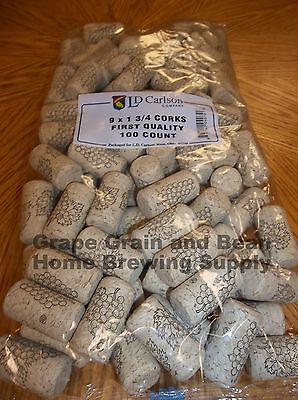 Wine Corks #9 1-3/4 First Quality 100 count