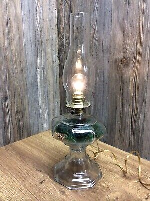 Antique Glass Bottom Oil Lamp Converted To Electric Light W/Glass Shade/Bulb A9F