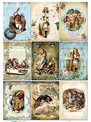 9 Alice in Wonderland Hang Tags Scrapbooking Paper Crafts (344) ()