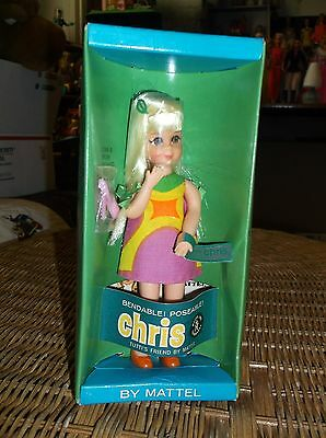 VINTAGE MATTEL BLONDE TUTTI CHRIS DOLL OUTFIT SHOES COMB & BRUSH BOX EXCELLENT