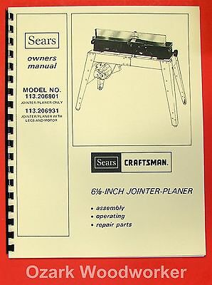 Craftsman 113.206801 113.206931 6 18 Jointer Operator Parts Manual 0174