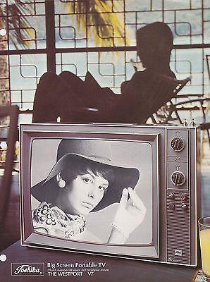 VINTAGE AD SHEET #2858 1970s TOSHIBA  PORTABLE TV - BIG SCREEN TV - (Toshiba Big Screen Tv)