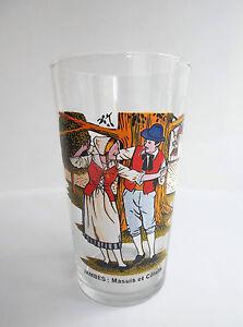RARE-Ancien-verre-Folklore-Belge-Jambes-Masuis-et-Cotelis-No-moutarde