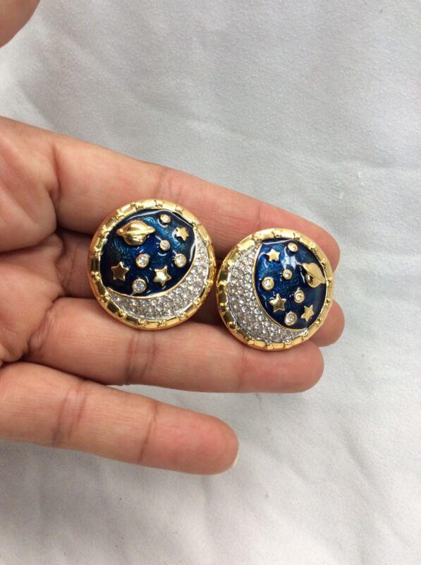 vtg. signed swan swarovski blue enamel celestial Gold Tone Clip On earrings