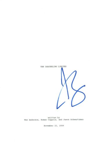 Jason Schwartzman Signed Autographed THE DARJEELING LIMITED Movie Script COA