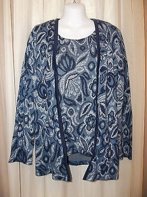 PABLO COLLECTION  Sweater Knit Top Blouse Shirt LAYERED LOOK Size 10 Women's