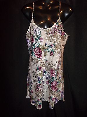 Jacquard-cami (CALIFORNIA MISS Floral Jacquard Cami  Gown Night Gown Size MEDIUM)