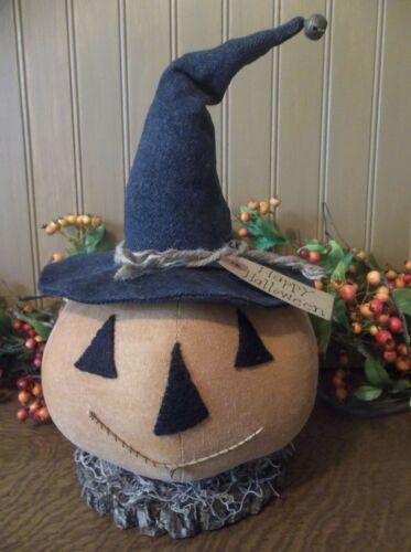 Primitive Handmade Jack-O-Lantern Make-Do on Dried Branch Round - Halloween/Fall