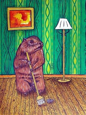 WOODCHUCK CLEANING  picture art  poster 4x6  GLOSSY PRINT