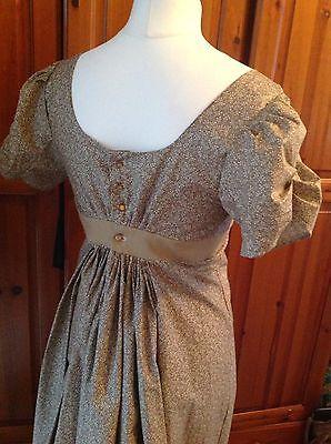 """Jane Austen Regency Style Dress Beige Sprigged Bust 38/40"""" Size 14/16"""