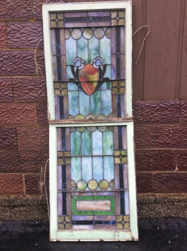"Antique Large 2 Piece Church Leaded Stain Glass Window - 28.5"" W X 76.5"" T"