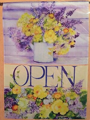 OPEN FOR BUSINESS SIGN FLORAL FLOWERS GARDEN STORE SHOP SALE LARGE YARD FLAG NEW