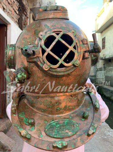 Antique Brass Scuba Diving Divers Helmet Brass Morse Navy Sea Copper Boston Gift