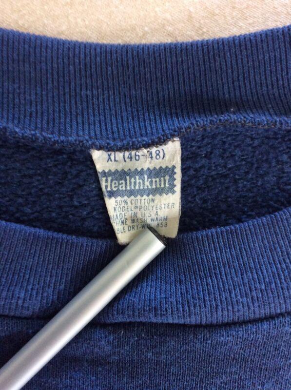 Vtg 70s Early 80s Sportswear Plain Blue Raglan Sweatshirt L/XL Blank 50/50