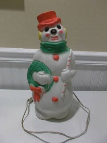 "VTG 1966 EMPIRE BLOW MOLD SNOWMAN HOLDING WREATH CANDY CANE 13.5""~HAS LIGHT CORD"