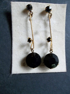 (14K Gold Wire and Black Onyx Pierced Dangle Drop Wired Earrings)