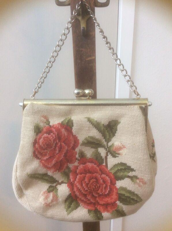 "VINTAGE NEEDLEPOINT PURSE ROSES GOLD Tone CHAIN Handbag Bag 11"" X 3"". 9"" Tall."