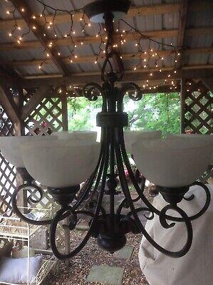 6 Light Chandelier Antique Dark Bronze Finish Marbled White Glass Globes Wired
