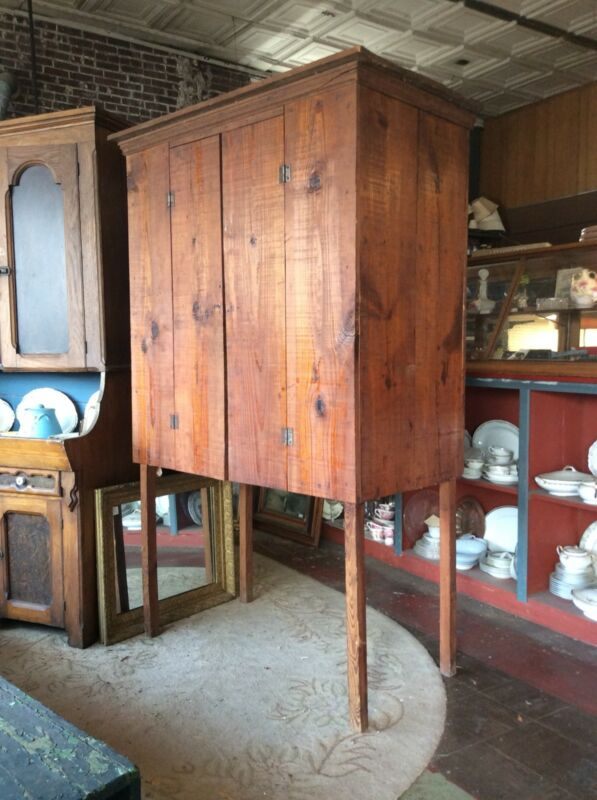 Vintage Early 1900's Primitive Farm Built Heart Pine Food Cupboard Cabinet
