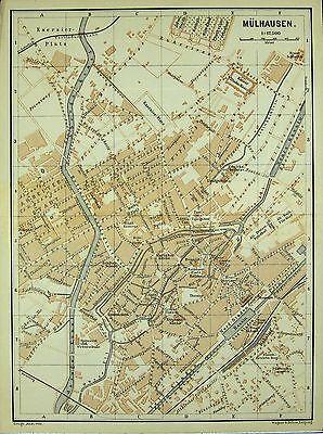 MÜLHAUSEN (Mulhouse), alter farbiger Stadtplan, gedruckt ca. 1900