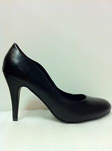 WOMENS-SHOES-FRAME-BY-NO-SHOES-MID-HEEL-COURT-IN-BLK-SMOOTH-PU-LEATHER-SZ-5to10