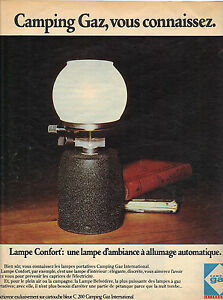 publicite 1975 camping gaz la lampe d 39 ambiance allumage automatique ebay. Black Bedroom Furniture Sets. Home Design Ideas