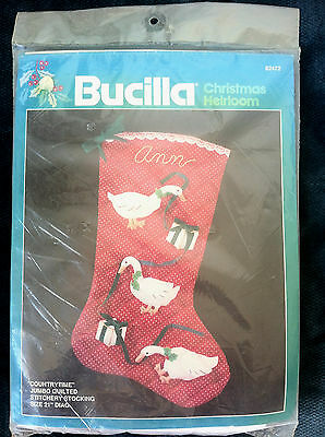 Vintage Bucilla countrytime Geese Quilted Christmas Stocking Kit